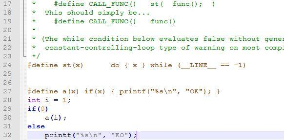 #define st(x) do { x } while (__LINE__ == -1)的用法
